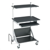 BALT Totally Adjustable Mobile Sit-Stand Workstation, 30 x 24 x 52, Black/Silver