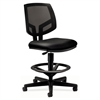 Volt Series Mesh Back Adjustable Leather Task Stool, Black