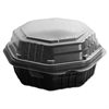 SOLO Cup Company OctaView Hinged-Lid HF Containers, Black/Clear, 6.3 x 1.2 x 1.2, 200/Carton