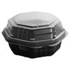 SOLO Cup Company OctaView Hinged-Lid HF Containers, Black/Clear, 6.3 x 3.1 x 1.5, 200/Carton