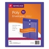 Smead Poly String & Button Envelope, 9 3/4 x 11 5/8 x 1 1/4, Purple, 5/Pack