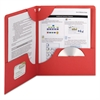 Lockit Two-Pocket Folder, Textured Paper, 11 x 8 1/2, Red, 25/Box