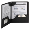 Lockit Two-Pocket Folder, Textured Paper, 11 x 8 1/2, Black, 25/Box