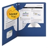 Lockit Two-Pocket Folder, Textured Paper, 11 x 8 1/2, DK Blue, 25/BX