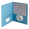Two-Pocket Folder, Embossed Leather Grain Paper, Blue, 25/Box