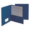 Two-Pocket Folder, Textured Paper, Dark Blue, 25/Box