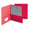 Two-Pocket Folder, Textured Paper, Red, 25/Box