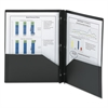 Poly Two-Pocket Folder w/Fasteners, 11 x 8 1/2, Black, 25/Box