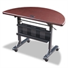 BALT Flipper Training Table, Half-Round, 48w x 24d x 29-1/2h, Mahogany/Black