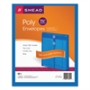 Smead Poly String & Button Envelope, 9 3/4 x 11 5/8 x 1 1/4, Blue, 5/Pack
