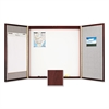 Quartet Cabinet, Fabric/Porcelain-on-Steel, 48 x 48 x 2, Beige/White, Mahogany Frame