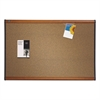 Prestige Bulletin Board, Brown Graphite-Blend Surface, 36 x 24, Cherry Frame