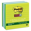 Post-it Recycled Notes in Bora Bora Colors, Lined, 4 x 4, 90-Sheet, 6/Pack