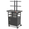 Height-Adjustable TV Cart, Four-Shelf, 24w x 18d x 62h, Black (Box 1 of 2)