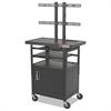 BALT Height-Adjustable TV Cart, Four-Shelf, 24w x 18d x 62h, Black (Box 1 of 2)