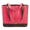 Pink Ribbon Leather Tote, 11 1/2 x 4 x 10, Pink/Chocolate
