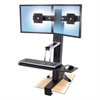 Ergotron WorkFit-S Sit-Stand Workstation without Worksurface, Dual, Aluminum/Black