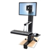 WorkFit-S Sit-Stand Workstation without Worksurface, LCD LD, Aluminum/Black