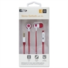 800 Series Earbuds w/Microphone, Red/White, 4 ft Cord