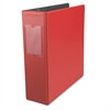 "Economy Non-View Round Ring Binder With Label Holder, 3"" Capacity, Red"