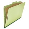 Pressboard Classification Folder, Legal, Four-Section, Green, 10/Box