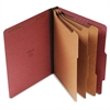 Pressboard Classification Folder, Letter, Eight-Section, Red, 10/Box