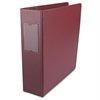 "Economy Non-View Round Ring Binder With Label Holder, 3"" Capacity, Burgundy"