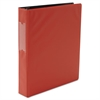 "Economy Non-View Round Ring Binder With Label Holder, 1-1/2"" Capacity, Red"
