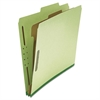 Pressboard Classification Folder, Letter, Four-Section, Green, 10/Box