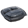 Mullinix Breakaway Hinged Poly Food Containers, Black/Clear, 3Comp, 9x9x2 1/2,112/Crtn