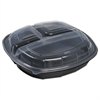Mullinix Breakaway Hinged Poly Food Containers, Black/Clear, 3Comp, 10x10x2.5,148/Crtn