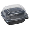 Breakaway Hinged Poly Food Containers, Black/Clear, 21.9oz, 6x6x3, 171/Crtn