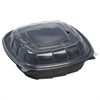 Breakaway Hinged Poly Food Containers, Black/Clear, 38.9 oz, 8x8x2 1/2,138/Crtn