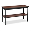 Utility Table with Bottom Shelf, Rectangular, 48w x 18d x 30h, Walnut/Black