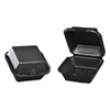 Genpak Foam Hinged Carryout Container, 5-13/16x5-11/16x3-1/8, Black, 125/Bag