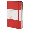 Moleskine Hard Cover Notebook, Plain, 5 1/2 x 3 1/2, Red Cover, 192 Sheets