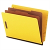 Pressboard End Tab Classification Folders, Letter, Six-Section, Yellow, 10/Box