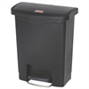Rubbermaid Commercial Slim Jim Resin Step-On Container, Front Step Style, 8 gal, Black