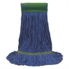 O-Cedar Commercial Maxi-Clean Loop-End Mop Heads, Medium, 10 1/2 x 15 1/2, Blue, 12/Carton