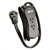 "Tripp Lite 3-Outlet Travel-Size Surge Protector, 18"" Cord, 2-Port 2.1A USB Charger, 1050 J"