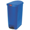 Slim Jim Resin Step-On Container, End Step Style, 18 gal, Blue