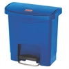 Slim Jim Resin Step-On Container, Front Step Style, 4 gal, Blue
