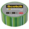 "Scotch Expressions Magic Tape, 3/4"" x 300"", Green Lines"