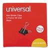 "Universal Mini Binder Clips, 1/4"" Capacity, 5/8"" Wide, Black, 36/Box"