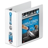 "Ultra Duty D-Ring View Binder w/Extra-Durable Hinge, 5"" Cap, White"