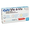Vis-à-Vis Wet-Erase Marker, Fine Point, Red, Dozen