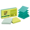 Post-it Pop-up Recycled Notes in Bora Bora Colors, 3 x 3, 90-Sheet, 6/Pack