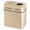 "Rubbermaid Commercial Two-Section Fiberglass Recycling Center, Beige, 16"" x 24"" x 28"""