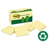Post-it Greener Original Recycled Note Pads, 3 x 3, Canary Yellow, 100-Sheet, 12/Pack