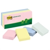 Post-it Recycled Note Pads, 1 1/2 x 2, Assorted Helsinki Colors, 100-Sheet, 12/Pack